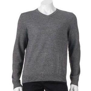Apt 9 Merino Wool Blend V Neck Gray Sweater 2X